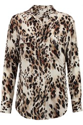 Equipment Signature Washed Silk Blouse Animal Print