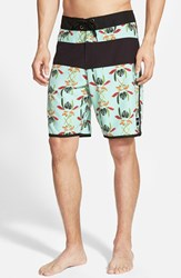 Men's Ezekiel 'Kona' Scalloped Hem Board Shorts Mint Green Black