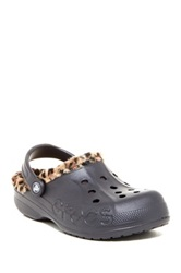 Crocs Baya Leopard Fleece Lined Clog Black