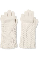 Duffy Cable Knit Merino Wool Gloves Ecru