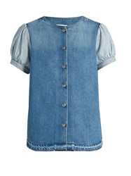 Sonia Rykiel Puff Sleeved Denim Blouse