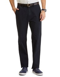 Nautica Flat Front Cotton Twill Pants True Navy