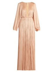 Maria Lucia Hohan Long Sleeved Silk Tulle Pleated Gown Nude