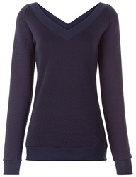 Pepper And Mayne Midnight Wide V Neck Quilted Sweater Navy