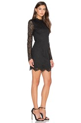 Bobi Black Lace Crochet Overlay Long Sleeve Crew Neck Mini Dress