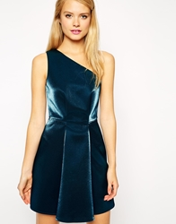 Asos One Shoulder Metallic Prom Dress Teal