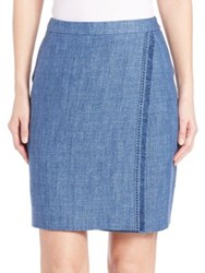Akris Punto Fringe Trim Linen Pencil Skirt Bleached Denim