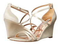 Badgley Mischka Bonanza Ivory Satin Women's Wedge Shoes Bone