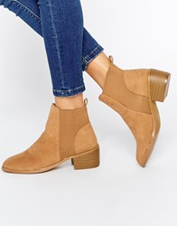 Daisy Street Tan Western Style Heeled Ankle Boots
