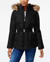 Rampage Faux Fur Trim Hooded Belted Puffer Coat Only At Macy's Black