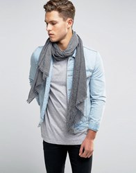 Esprit Woven Scarf With Stripe Grey