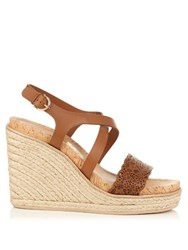 Salvatore Ferragamo Gioela Espadrille Wedge Sandals Tan