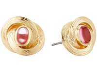 Cole Haan Center Stone Knotted Stud Earrings Gold Dark Pink Earring