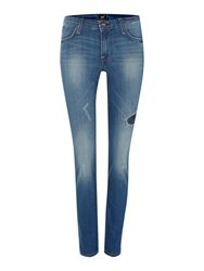 Lee Scarlett Skinny Jeans In Patched Bandana Denim Mid Wash