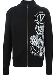 Versus Zipped Intarsia Cardigan Black