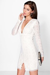 Boohoo Contrast Lace Split Hem Bodycon Dress Ivory