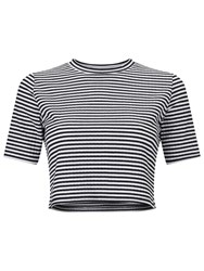 Miss Selfridge Petite Stripe Top Black