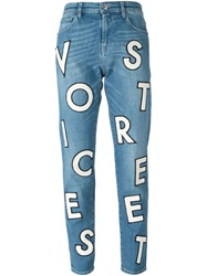 Each X Other Letter Patch Jeans Blue
