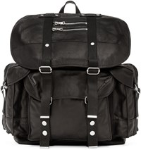 Balmain Black Leather Backpack