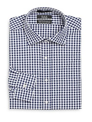Saks Fifth Avenue Black Modern Classic Fit Gingham Dress Shirt Navy