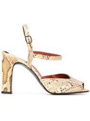 Yves Saint Laurent Vintage Ankle Strap Sandals Nude And Neutrals