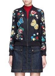 Alice Olivia 'Felisa' Floral And Butterfly Embroidered Silk Bomber Jacket Black