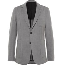 Ami Alexandre Mattiussi Unstructured Stretch Wool Blazer Gray