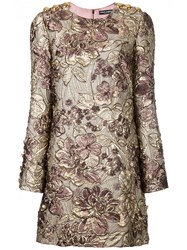 Dolce And Gabbana Floral Cloque Dress Pink And Purple