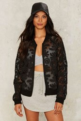 Mesh The Truth Bomber Jacket Black