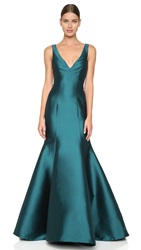 Monique Lhuillier Mermaid V Neck Gown Teal