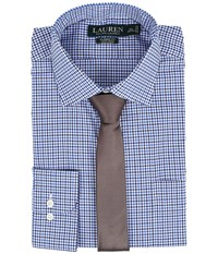 Lauren Ralph Lauren Classic Warren Collar With Pocket Dress Shirt White Bond Navy Men's Long Sleeve Button Up Blue
