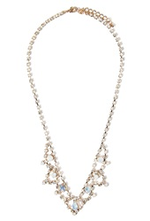 Forever 21 Scalloped Rhinestone Statement Necklace Gold White