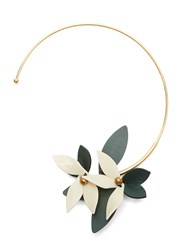Marni Leather Flower Choker Gold