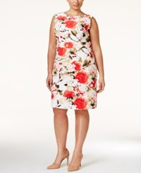 Connected Plus Size Floral Print Tiered Dress Orange