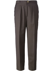 Celine Vintage High Waist Tailored Trousers Brown