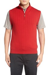 Bobby Jones Men's Quarter Zip Wool Sweater Vest Rio Red