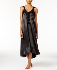 Oscar De La Renta Ruffle Trimmed High Low Nightgown Black