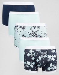 Asos Trunks With Floral Print And Contrast Binding 5 Pack Save 28 Blue