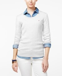 Tommy Hilfiger Jenny Cable Knit Sweater Snow White