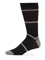 Saks Fifth Avenue Block Stripe Cotton Socks Black