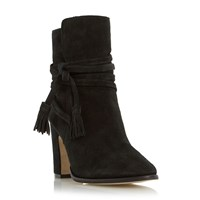 Dune Onyx Strappy Stacked Heels Black