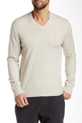 James Perse Long Sleeve V Neck Sweater Beige