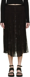 Mcq By Alexander Mcqueen Black Floral Shirred Chiffon Layered Skirt
