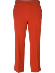 Odeeh Slim Fit Cropped Trousers Red