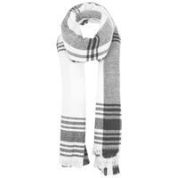 Miss Selfridge Large Check Scarf White
