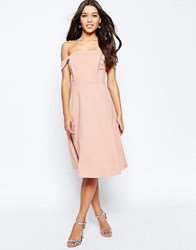 Asos Midi Dress With Tab Shoulder And Full Skirt Pink