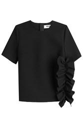 Msgm Top With Ruffles Black