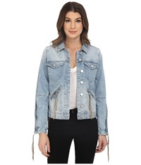 Blank Nyc Denim Fringe Jacket Blue Women's Jacket
