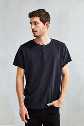 Feathers Raw Nubby Henley Tee Washed Black