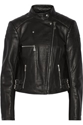Mcq By Alexander Mcqueen Plaid Trimmed Leather Biker Jacket